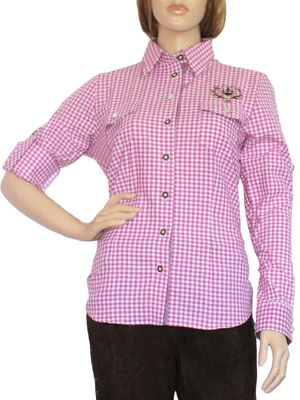 Traditional Bavarian Blouse, Trachten blouse, colour: Voilet/checkered – image 1