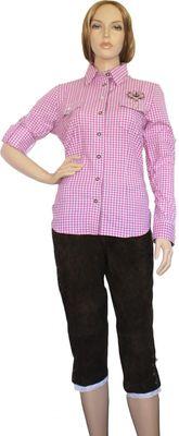 Trachtenbluse Damen Trachten lederhosen-bluse Trachtenmode violett kariert – Bild 2