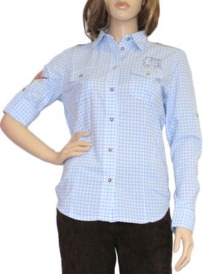 Traditional Bavarian Blouse, Trachten blouse, colour: light Blue/checkered – image 1