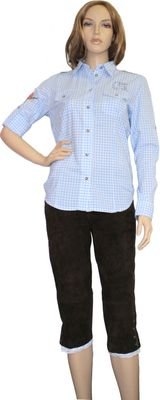 Traditional Bavarian Blouse, Trachten blouse, colour: light Blue/checkered – image 2