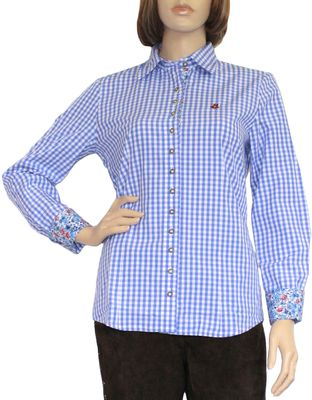 Traditional Bavarian Blouse, Trachten blouse, colour: Blue/checkered – image 1