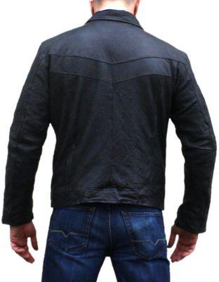 Men Leather jacket fashion sheepskin lamb Nappa-leather,color: Black – image 2