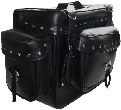 Motorrad Satteltasche saddlebag Sissy Bar Bag Motorradtasche Tasche aus Kunstleder – Bild 2
