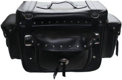 Motorrad Satteltasche saddlebag Sissy Bar Bag Motorradtasche Tasche aus Kunstleder – Bild 3