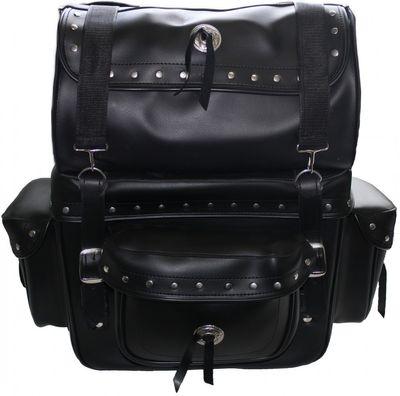 Motorrad Satteltasche saddlebag Sissy Bar Bag Motorradtasche Tasche aus Kunstleder – Bild 1