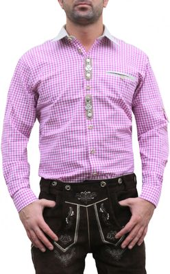 Trachtenshirt for Lederhosen with Decorations,color: Pink/checkered