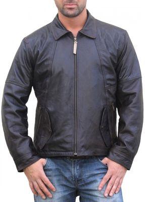 Men Leather jacket fashion sheepskin lamb Nappa-leather,Colour:Brown – image 1