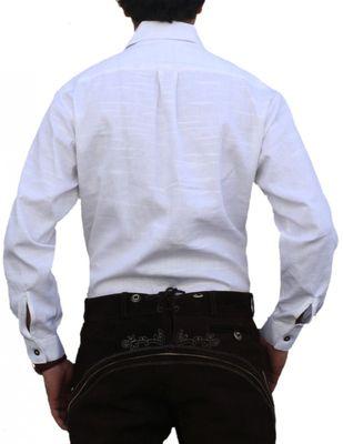 Trachtenhemd für Trachten Lederhosen Oktoberfest Trachtenmode wiesn weiß – Bild 2