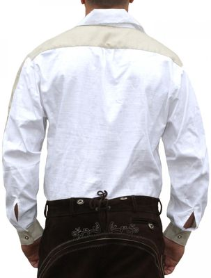 Trachtenshirt for Lederhosen with Decorations white – image 2