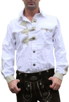 Trachtenshirt for Lederhosen with Decorations white – image 1