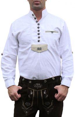 Trachtenhemd für Trachten Lederhosen Oktoberfest Trachtenmode wiesn weiß – Bild 1