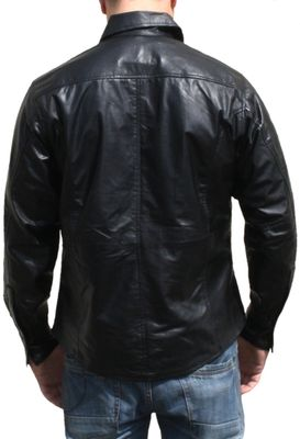 Men leather shirt fashion sheepskin lamb Nappa-leather,color: Black – image 2