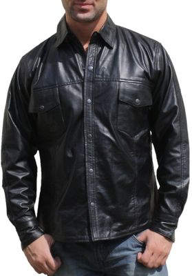 Men leather shirt fashion sheepskin lamb Nappa-leather,color: Black – image 1