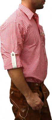 Trachtenshirt for Lederhosen with Decorations,Color: Red/checkered – image 3