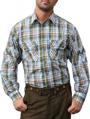 Bavarian Traditional Shirt for lederhosen Cotton Blended,Color: Green/checkered – image 1