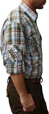 Bavarian Traditional Shirt for lederhosen Cotton Blended,Color: Green/checkered – image 2