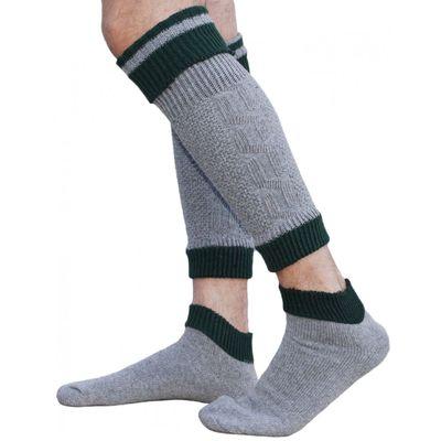 Two pieces Loferl Trachten socks Stockings Merino wool Colour: grey/green