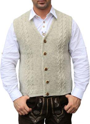 German Wear, Trachten Wolljanker Strickweste Tracht Weste beige – Bild 1