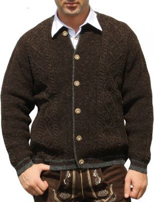 German Wear, Trachten Wolljanker Strickjacke Zopfmuster wolle mittelbraun
