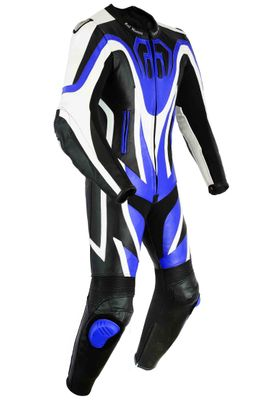 Motorbike motorcycle leathers 1 one piece suit real Cowhide leather Blue/Black – image 2