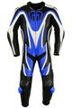 Motorbike motorcycle leathers 1 one piece suit real Cowhide leather Blue/Black