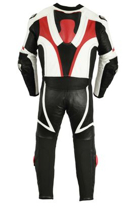 Motorbike motorcycle leathers 1 one piece suit real Cowhide leather Red/Black – image 4