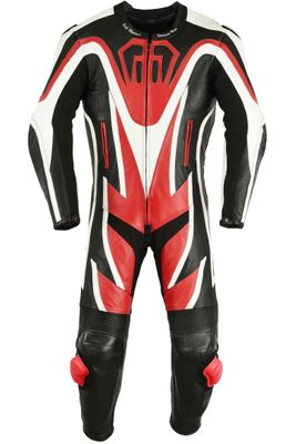 Motorbike motorcycle leathers 1 one piece suit real Cowhide leather Red/Black – image 1