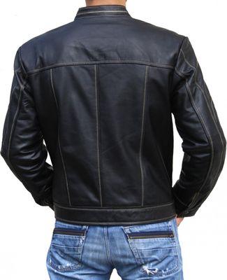 Men Leather jacket fashion sheepskin lamb Nappa-leathe,color:Black – image 2