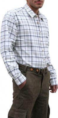 Hunting traditional shirt for lederhosen Cotton,color: Olive/Checkerd – image 3