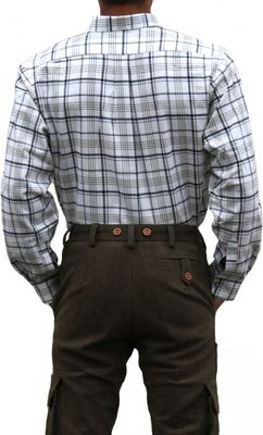 Hunting traditional shirt for lederhosen Cotton,color: Olive/Checkerd – image 2