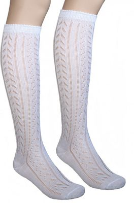 Short ladies Trachten socks stockings braided look, colour: White – image 2