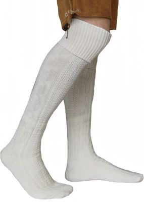LONG traditional socks, knee lengh stockings, braided-look,color:Cream 75cm – image 1