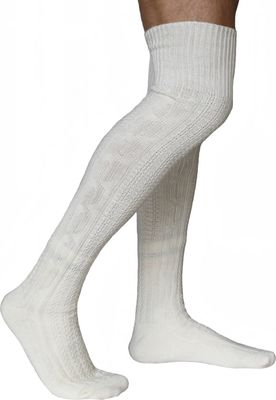 LONG traditional socks, knee lengh stockings, braided-look,color:Cream 75cm – image 2