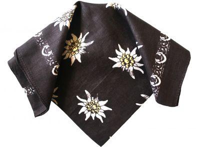 Scarf Trachtenscarf Flowerdesign 54x54cm,color: dark Brown – image 1