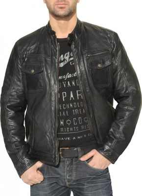 Men Leather jacket lamb Nappa-leather black
