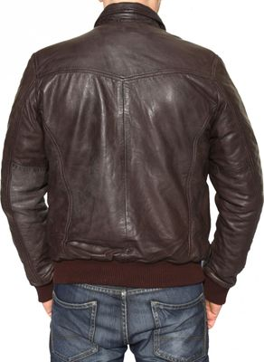 Men Leather jacket fashion sheepskin lamb Nappa-leather dark brown – image 4