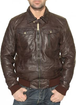 Men Leather jacket fashion sheepskin lamb Nappa-leather dark brown – image 2