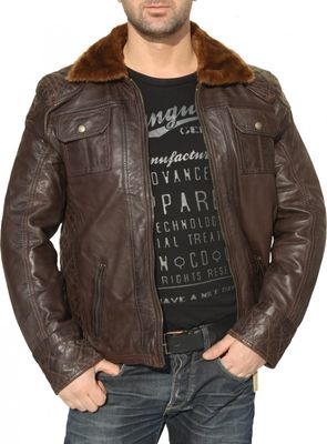 Men Leather jacket lamb Nappa-leather dark brown