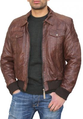 Men Leather jacket fashion sheepskin lamb Nappa-leather dark brown – image 1