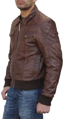 Men Leather jacket fashion sheepskin lamb Nappa-leather dark brown – image 3