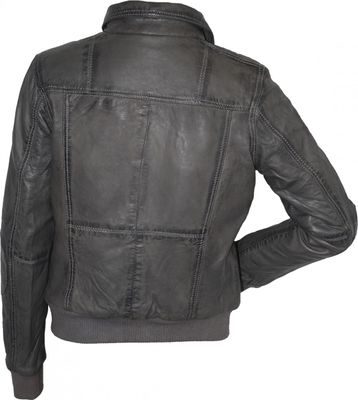 Ladies Leather jacket, fashion lamb Nappa-leather,colour: grey – image 3