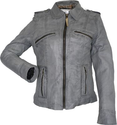 Ladies Leather jacket, fashion lamb Nappa-leather, colour: grey