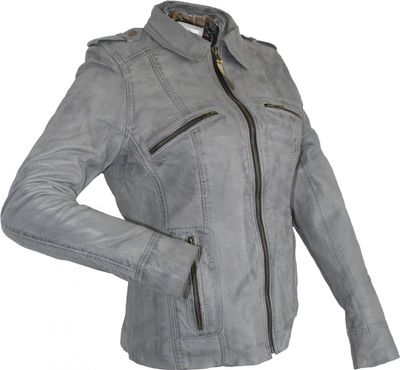 on sale 5caba f50e2 German Wear, Damen Lederjacke Trend Fashion echtleder Jacke aus Lamm Nappa  Leder Grau