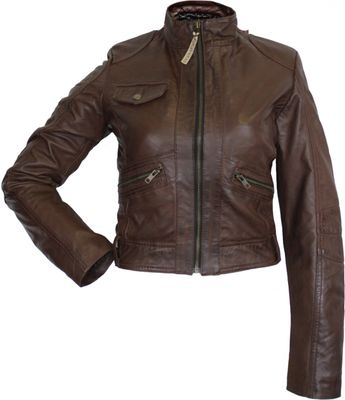 Ladies leather jacket, fashion lamb Nappa-leather, colour: brown – image 1