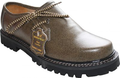 Bavarian traditional Haferl Shoes for Trachten Lederhosen Cracker Leather,color: khaki