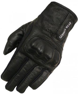 German Wear,Motorradhandschuhe Biker Motorrad Leder handschuhe perforiert Schwarz – Bild 1