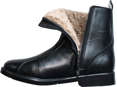 Trendy winter bootees real sheep skin Lamb fur stuffing / lining,color: Black – image 1