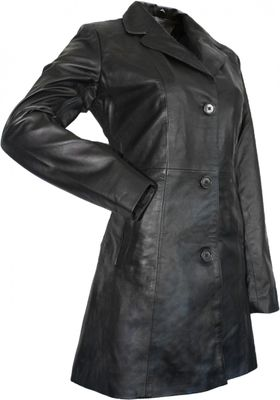 Ladies Leather Coat fashion lamb Nappa-leather trench coat,color: Black – image 2
