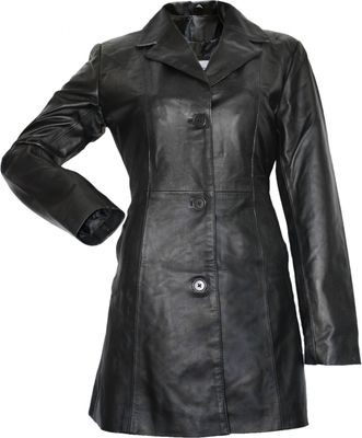 German Wear, Damen Ledermantel Trenchcoat echtleder Mantel aus Lammnappa Leder Schwarz
