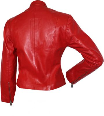 Ladies Leather jacket fashion lamb Nappa-leather,color: Red – image 2